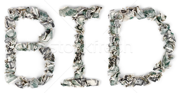 Bid - Crimped 100$ Bills Stock photo © eldadcarin