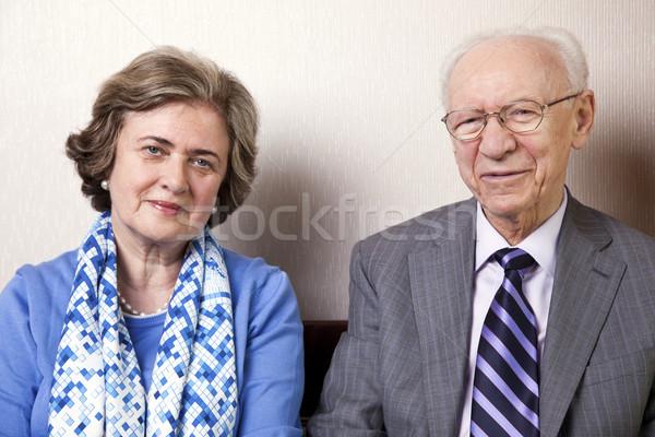 пожилого пару глядя камеры высокий общество Сток-фото © eldadcarin