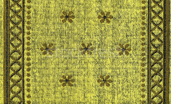 Cotton Fabric Texture -Yellow with Khaki Patterns Stock photo © eldadcarin