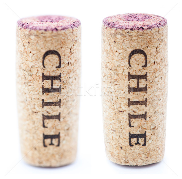 Isolated Vertical 'Chile' Downwards Stained Wine Cork Stock photo © eldadcarin
