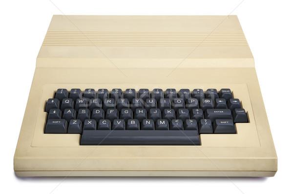 Izolat epocă 1980 calculator devreme alb Imagine de stoc © eldadcarin