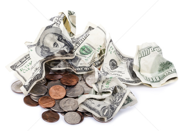 Crumpled Cash & Change Stock photo © eldadcarin