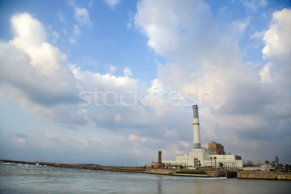 Energiecentrale rivier lezing mond middellandse zee Stockfoto © eldadcarin