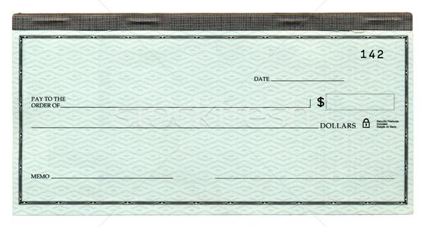 Cheque bancaire bevestigd boek geïsoleerd witte Stockfoto © eldadcarin