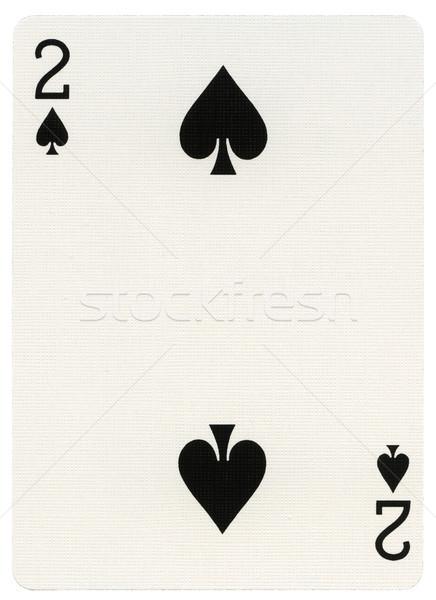 Сток-фото: играет · карт · два · пики · изолированный · белый