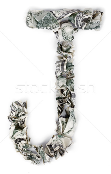 Letter J - Crimped 100$ Bills Stock photo © eldadcarin