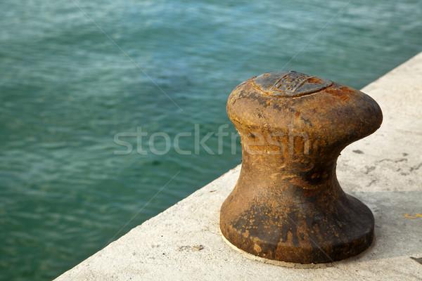 Foto stock: Enferrujado · barco · verde · mar · texto · hebraico