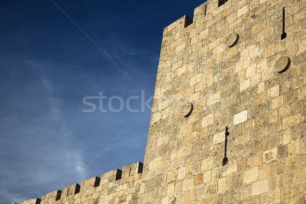 Eski Kudüs şehir duvar muhteşem bulutlu Stok fotoğraf © eldadcarin