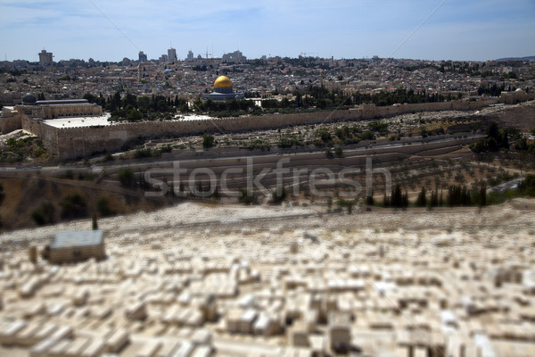 Dome of the Rock & Jewish Cemetery Stock photo © eldadcarin