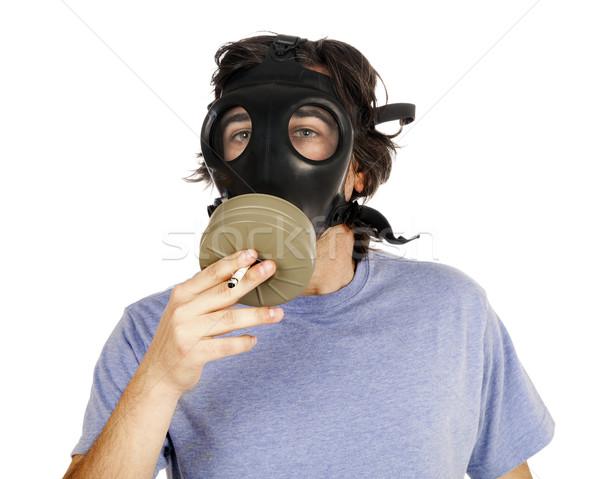 Smoking with Gas Mask Stock photo © eldadcarin
