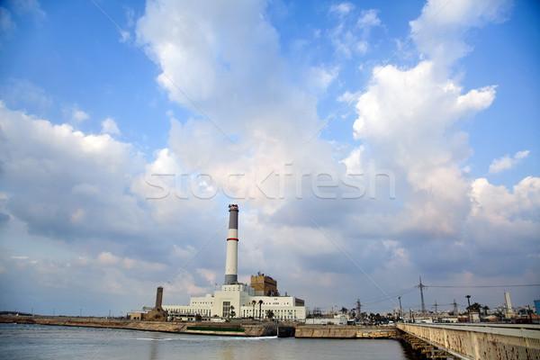 Stockfoto: Energiecentrale · rivier · lezing · mond · middellandse · zee