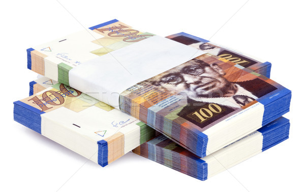 Isolated 100 NIS Bills Criss-Cross Stacks Stock photo © eldadcarin