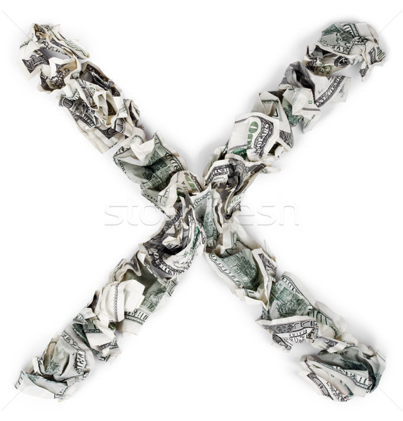 Letter X / Multiplication Mark - Crimped 100$ Bills Stock photo © eldadcarin
