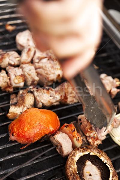 Kurczaka pomidory grzyby gotowy zewnątrz grill Zdjęcia stock © eldadcarin