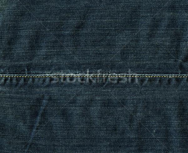 Denim weefsel textuur Blauw steek hoog Stockfoto © eldadcarin