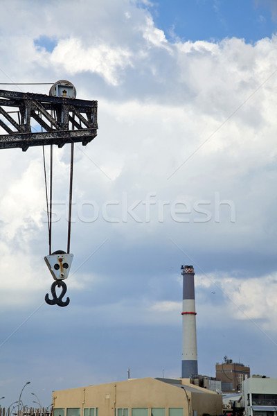 Vintage Harbour Crane & Power Plant Chimney Stock photo © eldadcarin
