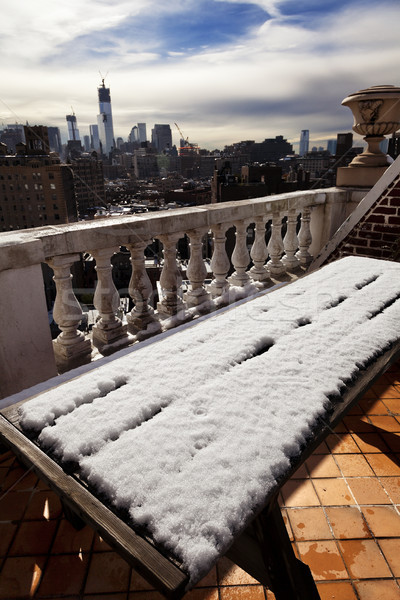 Hó fedett piknik asztal sziluett nyugat falu Stock fotó © eldadcarin