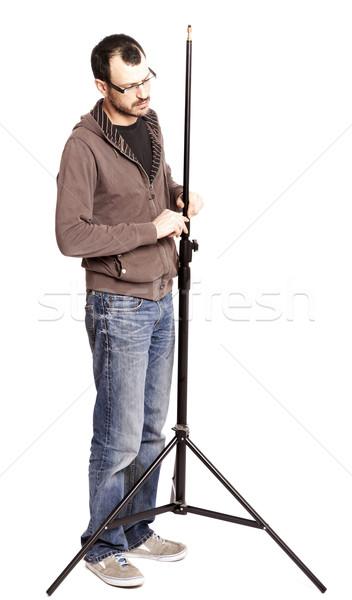 Fotós asszisztens felnőtt kaukázusi férfi korai Stock fotó © eldadcarin