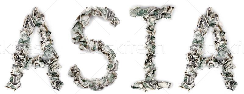 Stock fotó: Ázsia · 100 · számlák · szó · ki · izolált