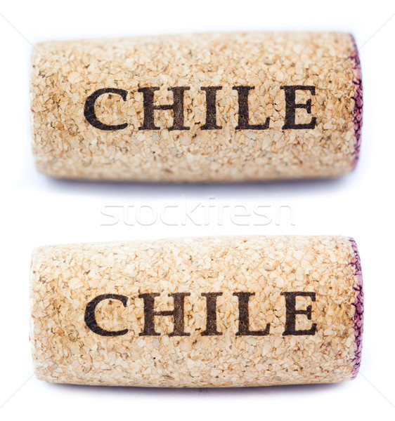 Stock photo: Isolated 'Chile' Horizontal Wine Cork