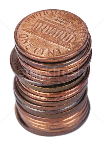 Stock photo: Isolated 1 US Cent Coin Stack