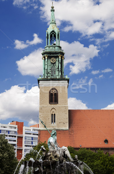 St. Mary's Church (Marienkirche) & Neptune Fountain (Neptunbrunn Stock photo © eldadcarin