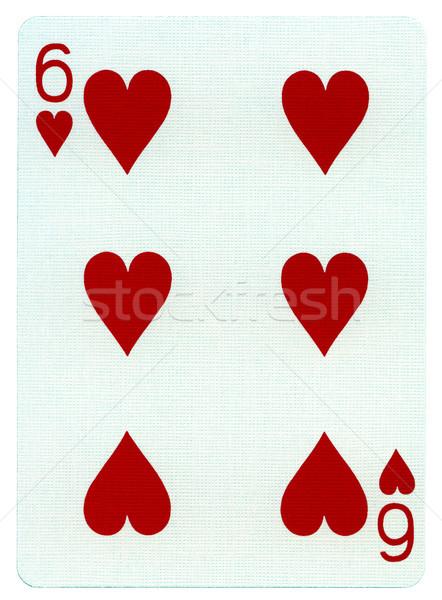 Stock fotó: Játszik · kártya · hat · szívek · izolált · fehér