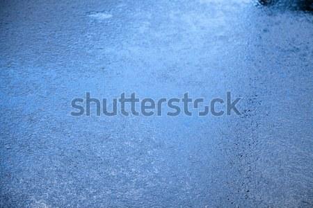 ぬれた アスファルト ブルース クローズアップ 雨 青 ストックフォト © eldadcarin