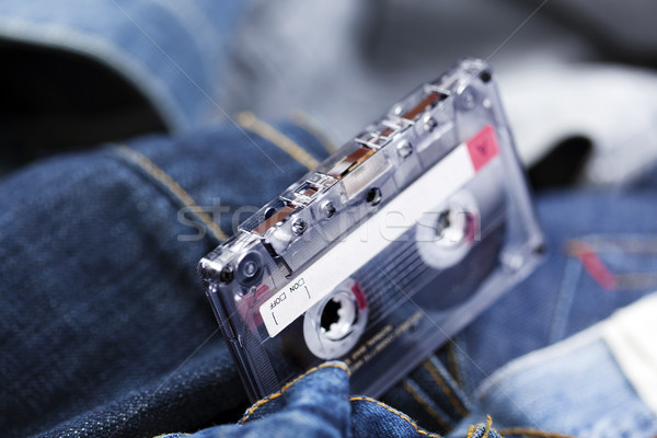 Audio Cassette on Denim Stock photo © eldadcarin