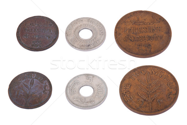 Isolated Palestine Coins - High Angle Stock photo © eldadcarin