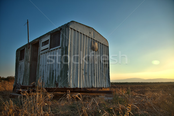 Trailer Wreck in Countryside Field Stock photo © eldadcarin