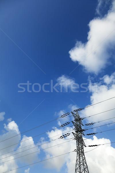 Electricidad nublado cielo largo tiro Foto stock © eldadcarin