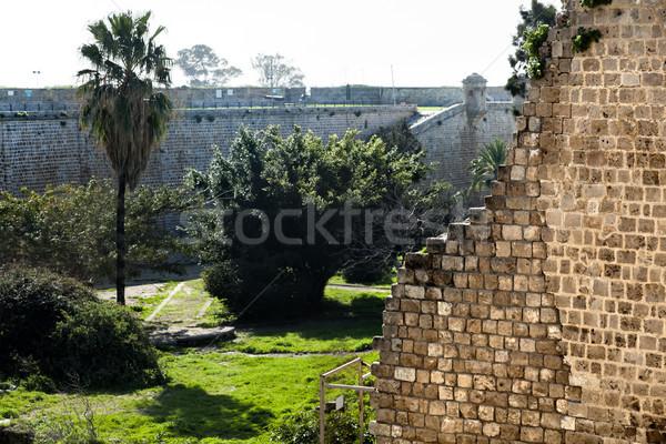 Starożytnych ruiny ściany rano czasu starówka Zdjęcia stock © eldadcarin