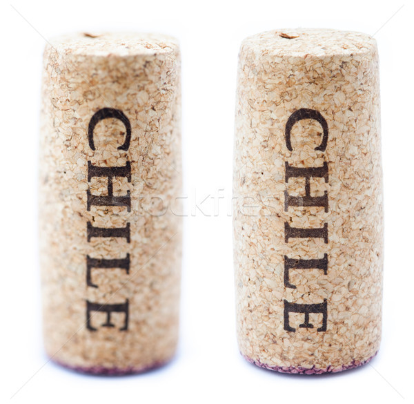 Isolated Vertical 'Chile' Downwards Wine Cork Stock photo © eldadcarin