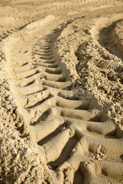 Tire Tracks in the Sand - Surface Level Stock photo © eldadcarin