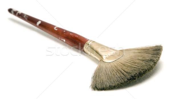 Odizolowany używany pędzlem pędzel biały drewna Zdjęcia stock © eldadcarin