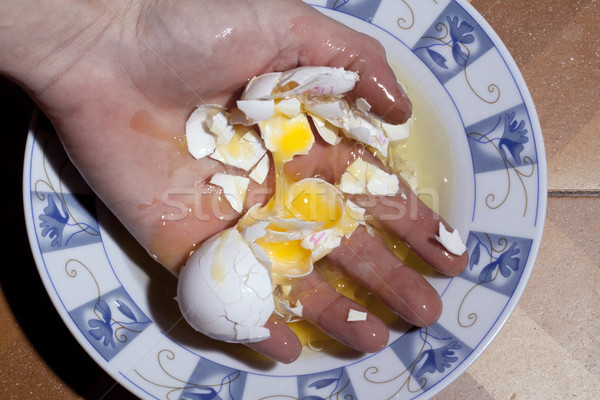 яйцо стороны пластина желток Сток-фото © eldadcarin