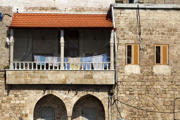 Oude veranda wasserij vloer gebouw Stockfoto © eldadcarin