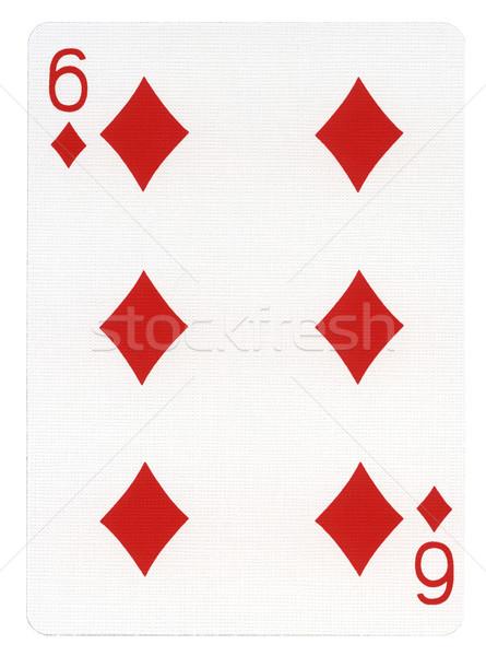 Oynama kart altı elmas yalıtılmış beyaz Stok fotoğraf © eldadcarin