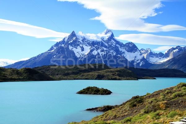 Vadon víz természet hegy tó felhő Stock fotó © eldadcarin