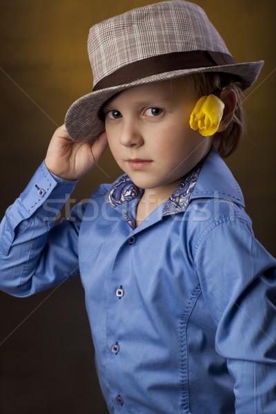 Fiú kalap virág pozitív 5 éves sárga virág Stock fotó © Elegies