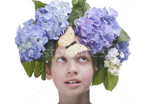 Yaz yıl eski kız kelebek kafa Stok fotoğraf © Elegies