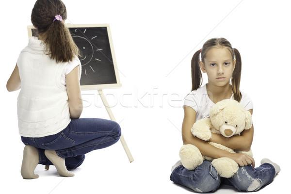 Kızlar yalıtılmış beyaz iki okul kız Stok fotoğraf © Elegies