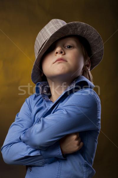 Erkek şapka sarı renk gömlek Stok fotoğraf © Elegies