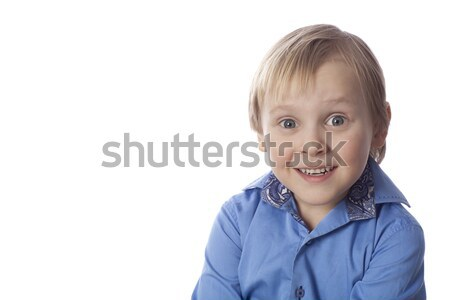 Piccolo ragazzo faccia buffa positivo Foto d'archivio © Elegies