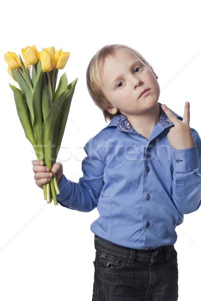 Fiú virág pozitív 5 éves gyermek kék Stock fotó © Elegies