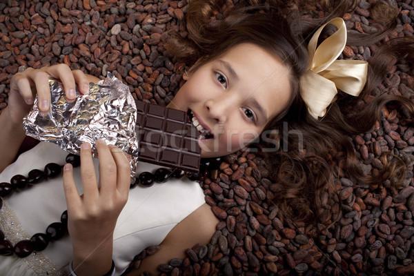 Kız çikolata gıda saç renk Stok fotoğraf © Elegies