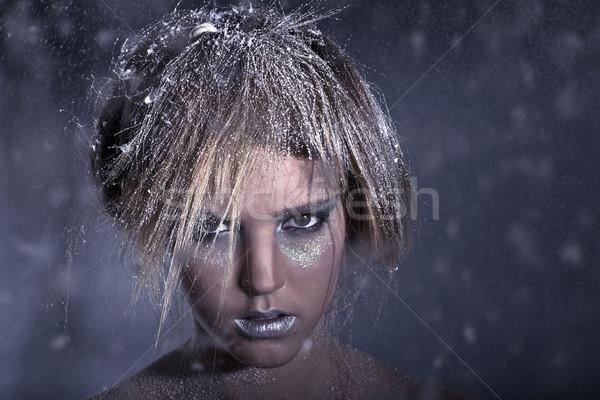 少女 雪 光 フォアグラウンド 白人 背景 ストックフォト © Elegies