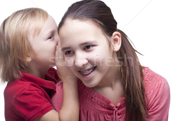 Erkek kız beyaz yıl aile gülümseme Stok fotoğraf © Elegies