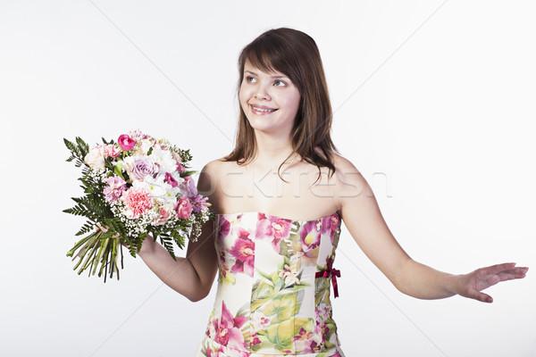 Genç kadın buket gülen kafkas farklı çiçekler Stok fotoğraf © Elegies
